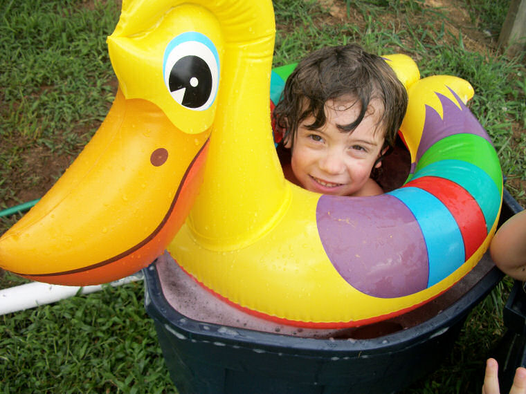 Tristan in a rubber ducky