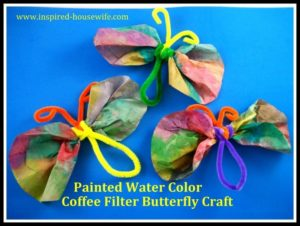 Painted Water Color Coffee Filter Butterfly Craft
