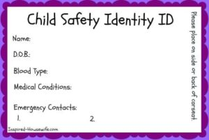 Car Seat Child Safety ID Card
