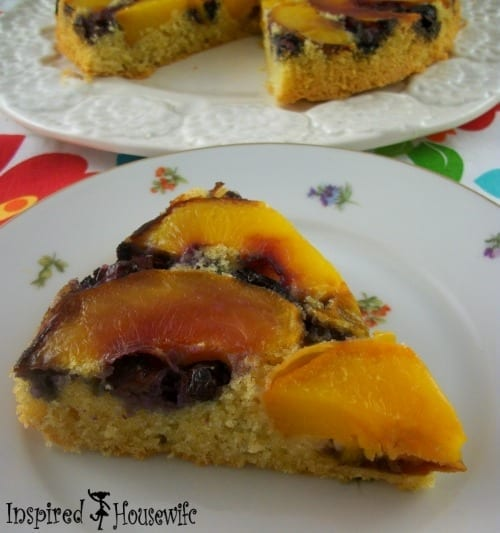 Blueberry and Peach Upside Down Breakfast Cake